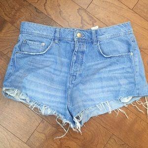 Zara High Waist Denim Jean Shorts